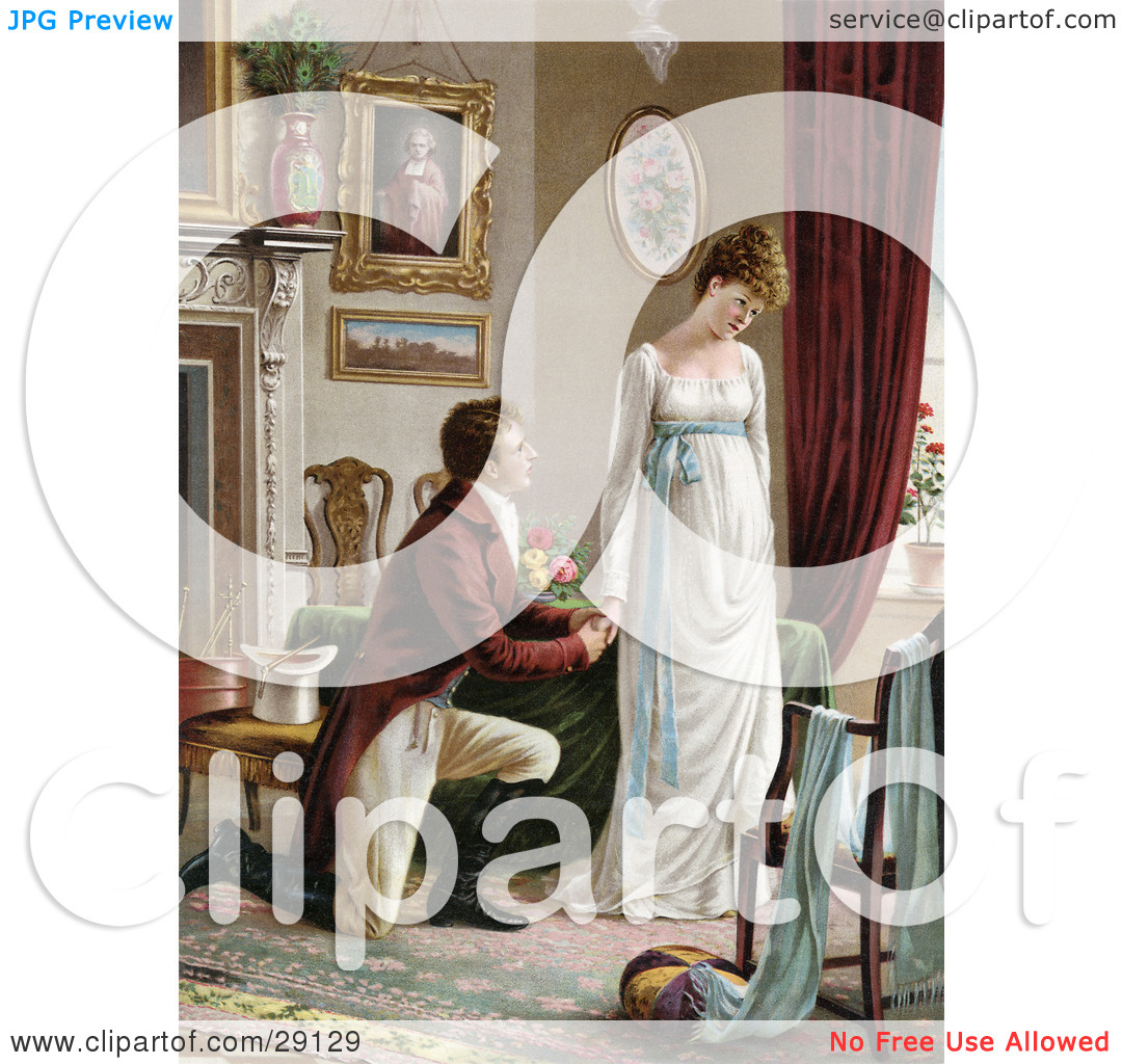 Clipart Picture of a Vintage Victorian Scene Of A Young Man On.