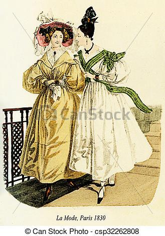 Stock Illustration of Vintage drawing, two ladies Paris fashion.