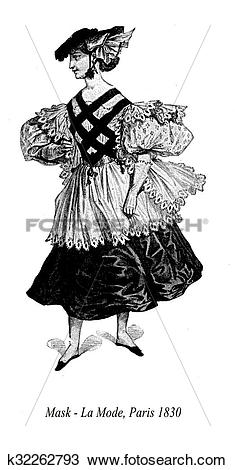 Drawing of Vintage drawing, lady with hat and masquerade costume.