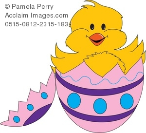 Clip Art Illustration of Cute Little Chick Hatching From His Egg.
