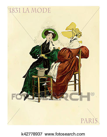 Picture of 1831 fashion, French magazine La Mode with two ladies.