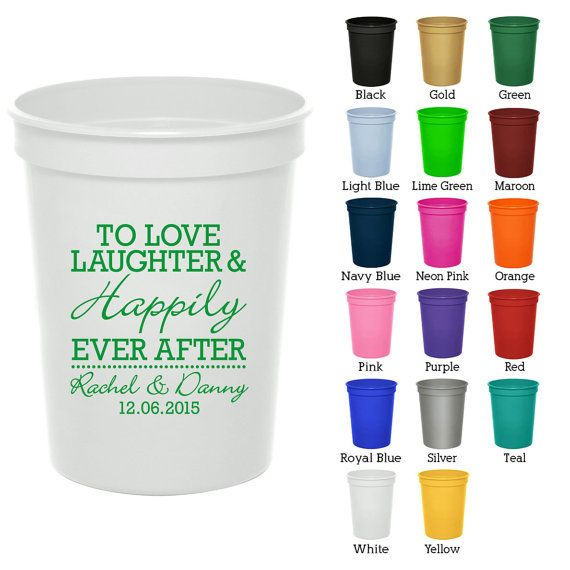 16 oz Custom Wedding Cups (Clipart 1831) Love Laughter Happily.