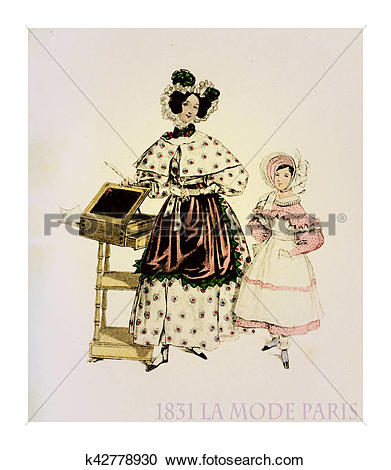 Stock Illustrations of 1831 fashion, French magazine La Mode.