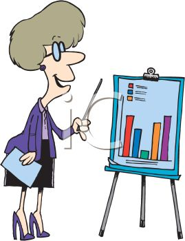 Royalty Free Clip Art Image: Cartoon Woman Giving a Business.
