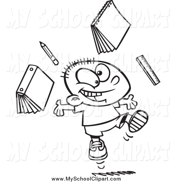 Clip Art of a Black and White Happy School Boy Ready for Vacation.