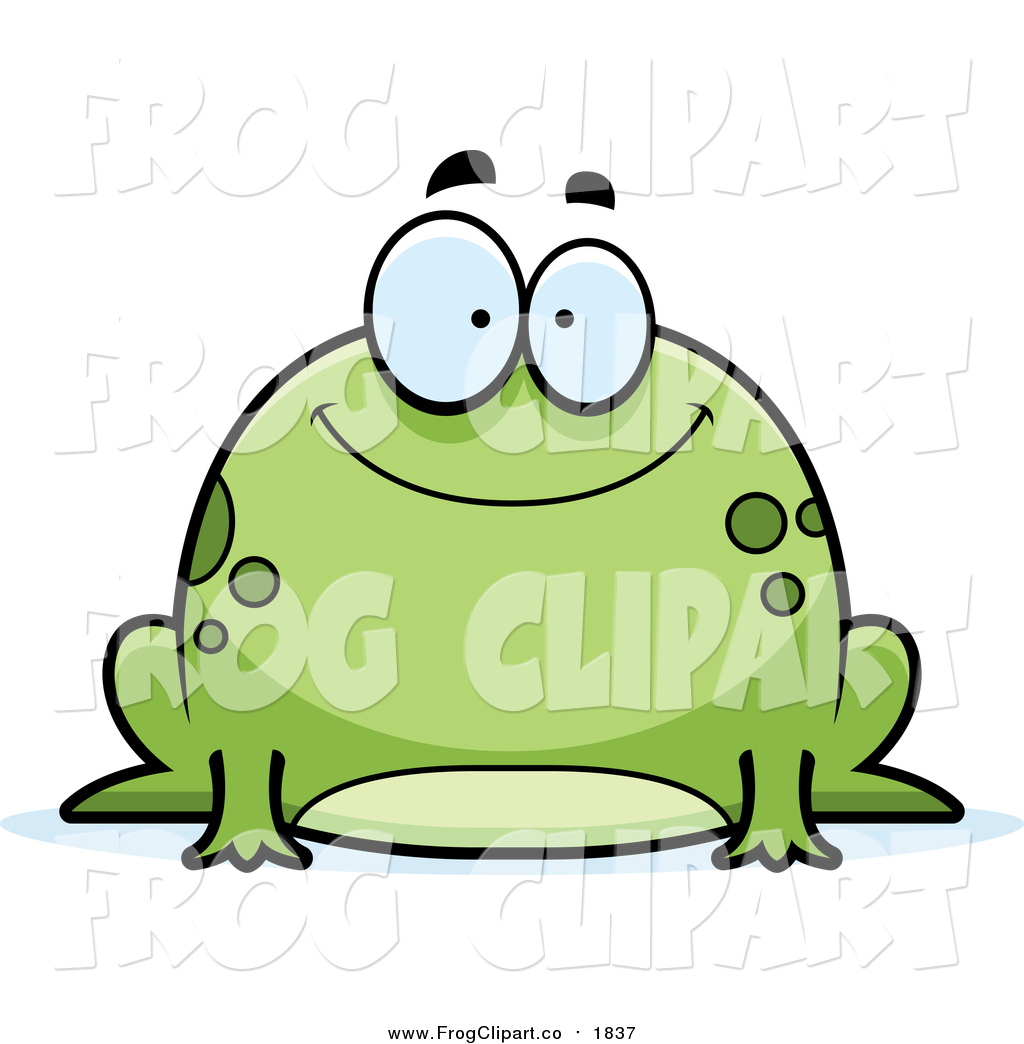 Clip Art of a Chubby Happy Green Frog by Cory Thoman.