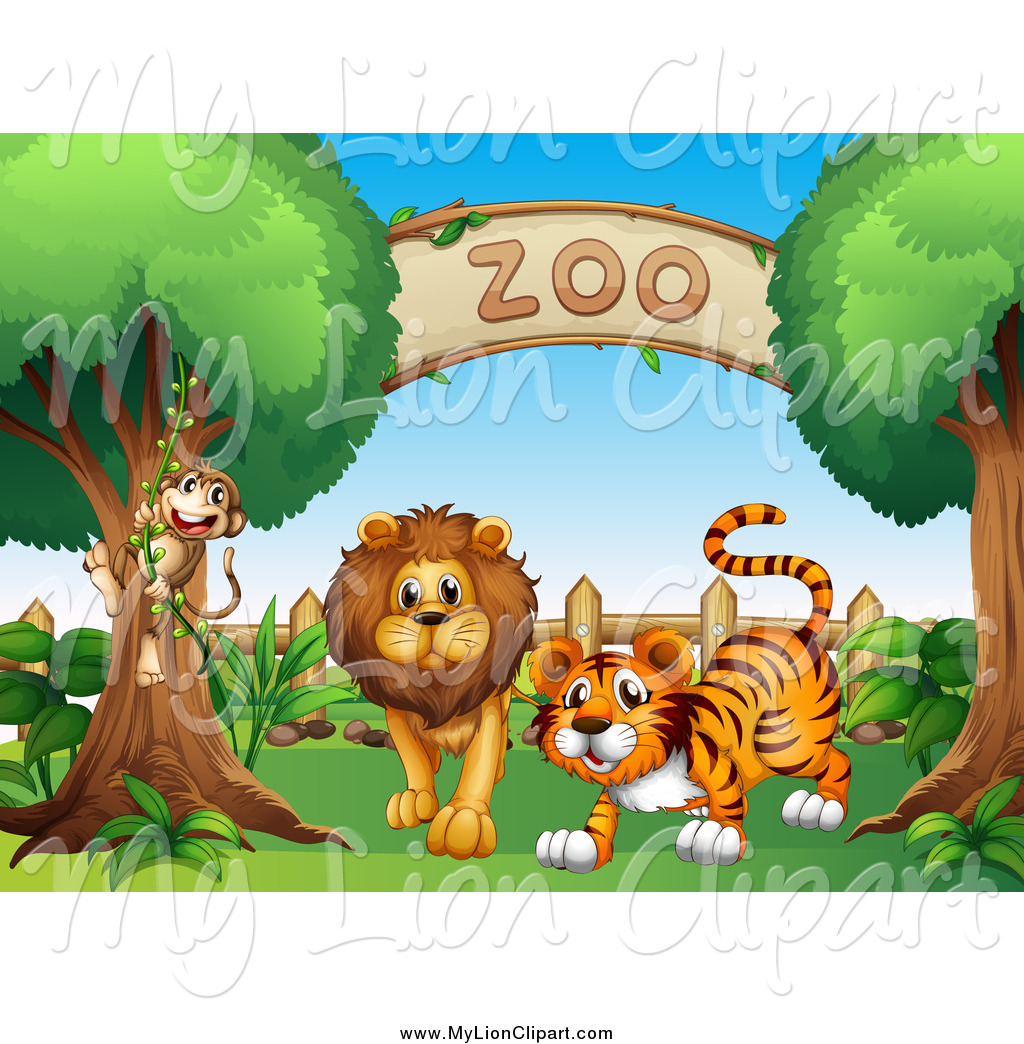 Clipart of a Monkey Lion and Tiger at a Zoo Entrance by colematt.