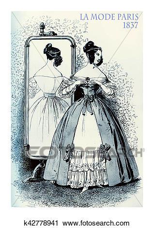 Clipart of 1837 fashion, French magazine La Mode, lady fancy.