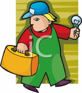 Electrician Holding a Light Bulb Clipart Picture.