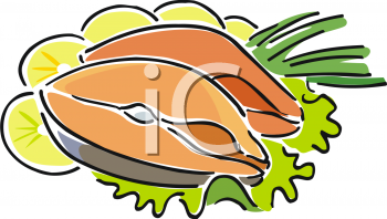Royalty Free Clipart Image: Salmon Steaks with Lemon Garnish.