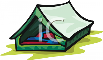 Tent with Sleeping Bags Inside.