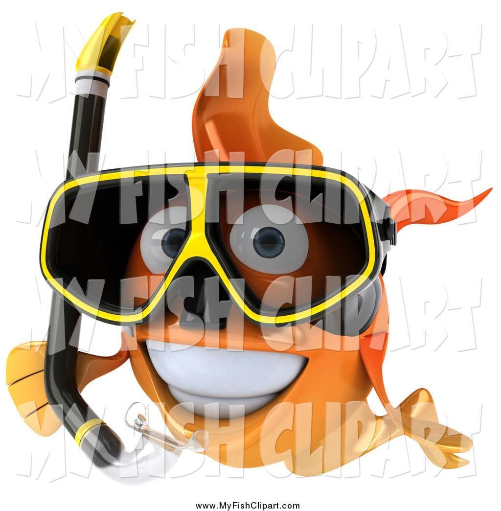 Clip Art of a 3d Happy Snorkeling Goldfish by Julos.
