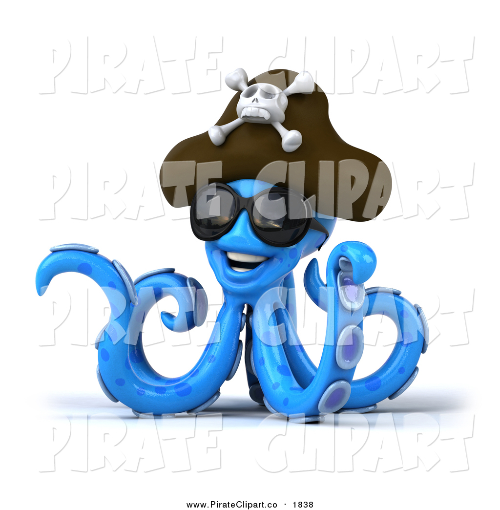 Clip Art of a 3d Happy Blue Pirate Octopus Wearing Sunglasses and.