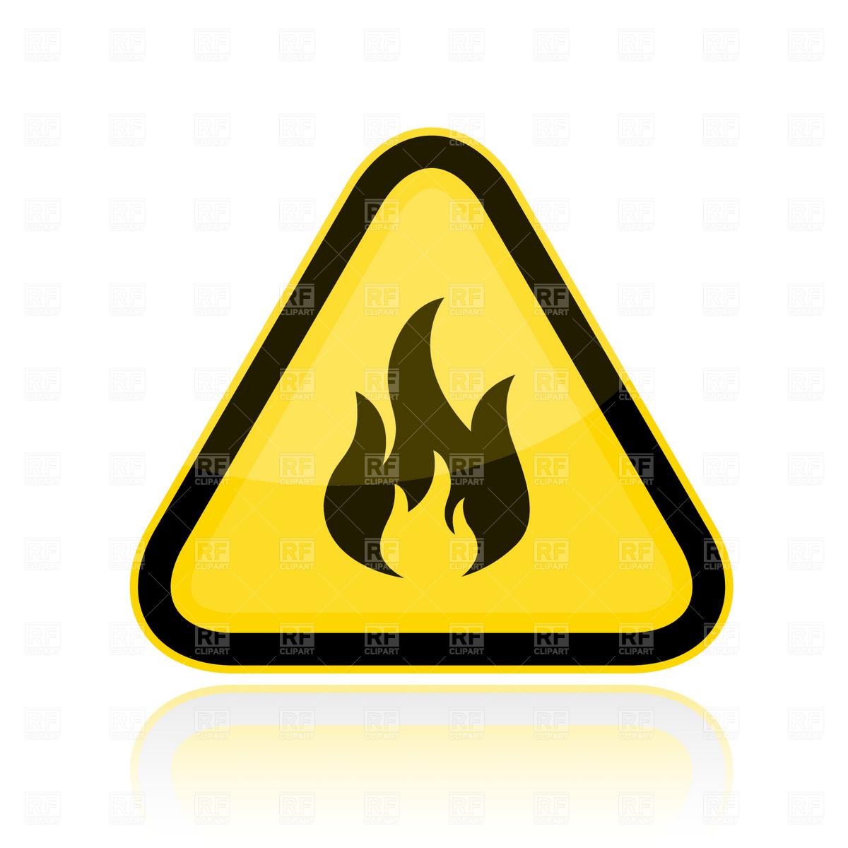 Yellow triangular flammable warning sign Vector Image #1839.