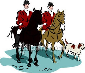 Clipart Picture of a Two Men on a Fox Hunt.