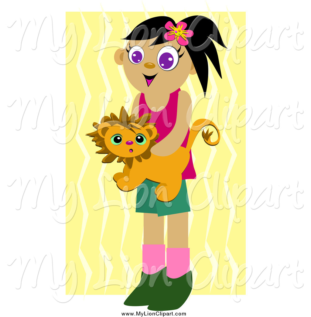 Clipart of a Happy Girl Holding a Lion Stuffed Animal over Zig.
