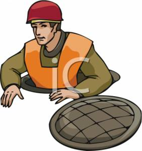 Clipart Picture of a Worker Coming Out of a Man Hole.