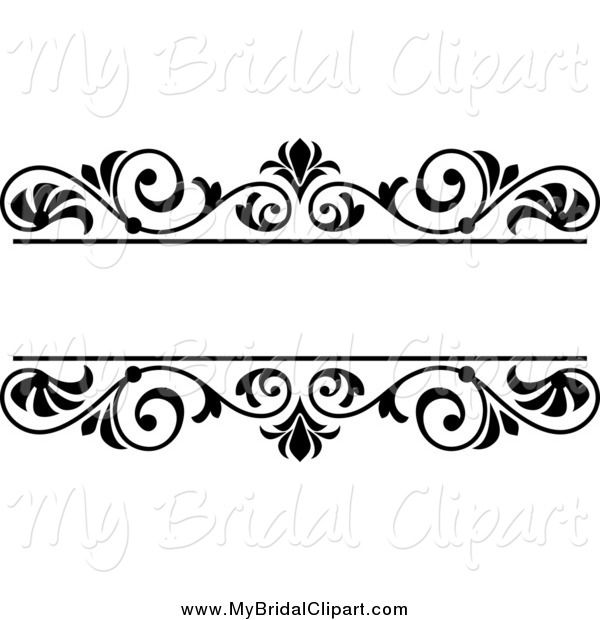 Bridal Clipart of a Black and White Wedding Floral Frame by Vector.
