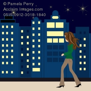 Clip Art Illustration of a Young Woman Walking Downtown at Night.