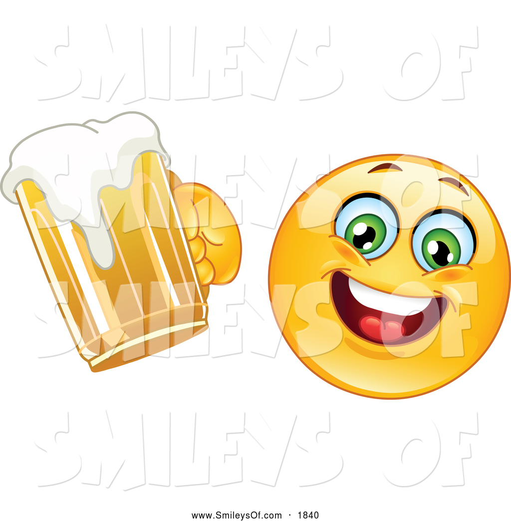 Vector Clipart of AHappy Smiley Cheering with Beer by yayayoyo.