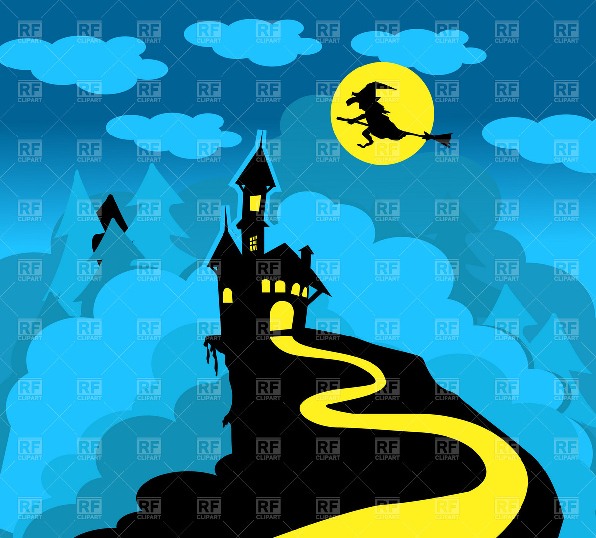 Dracula castle and witch over broom Vector Image #1842.
