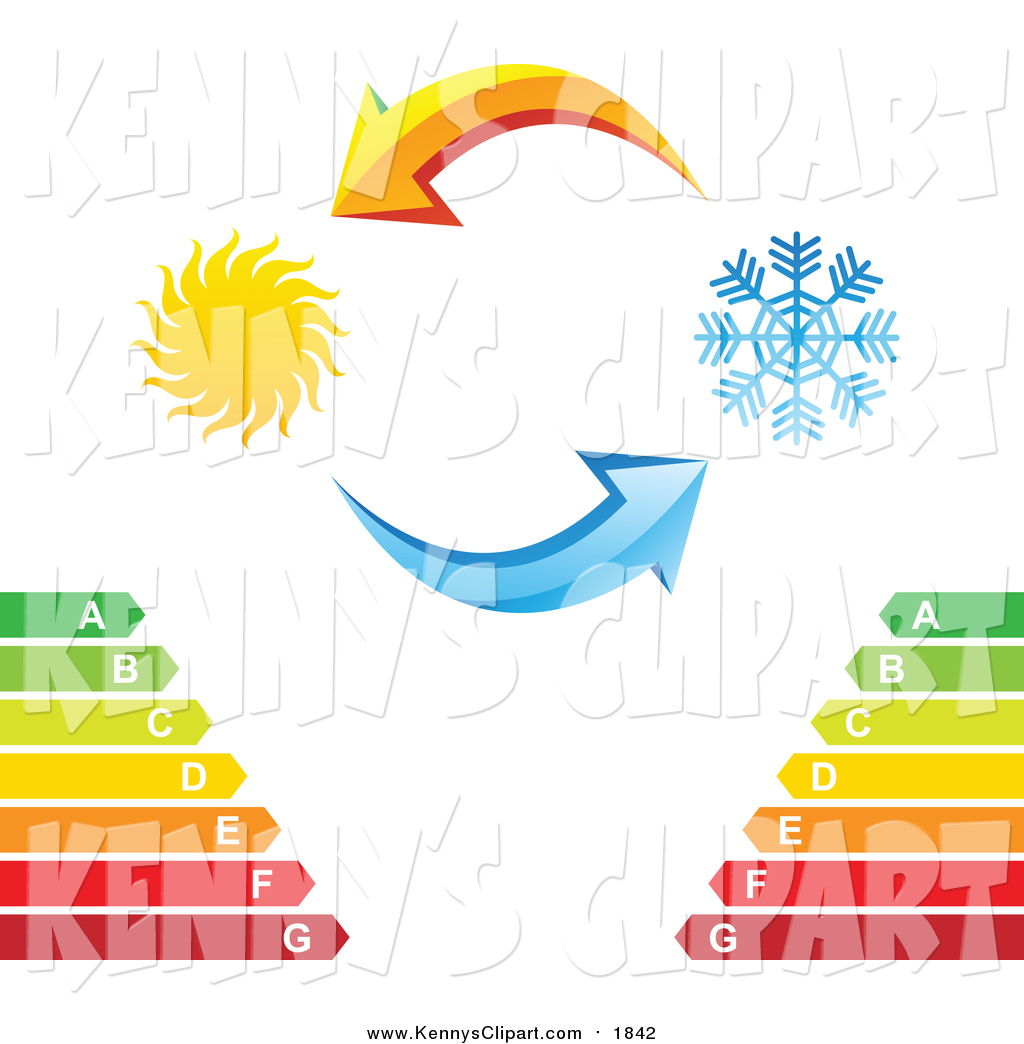 Clip Art of Yellow and Blue Arrows with a Sun and Snowflake over.