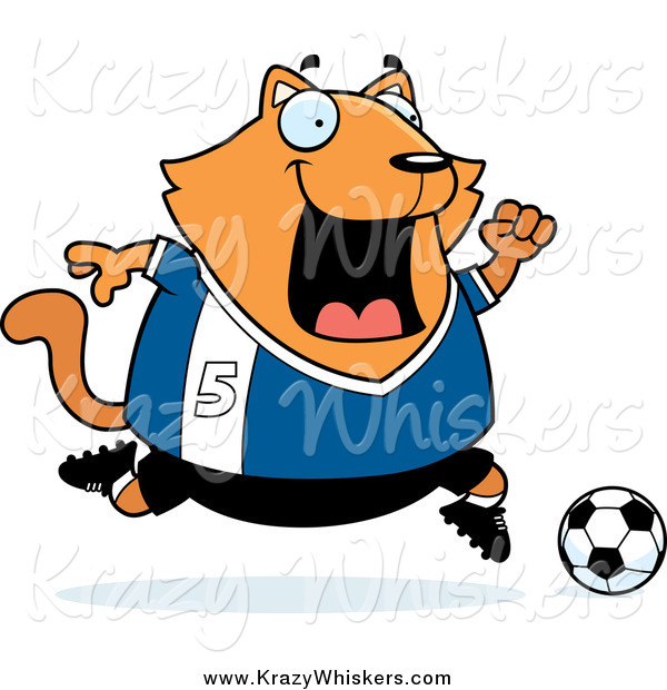 Critter Clipart of a Chubby Ginger Cat Playing Soccer by Cory.