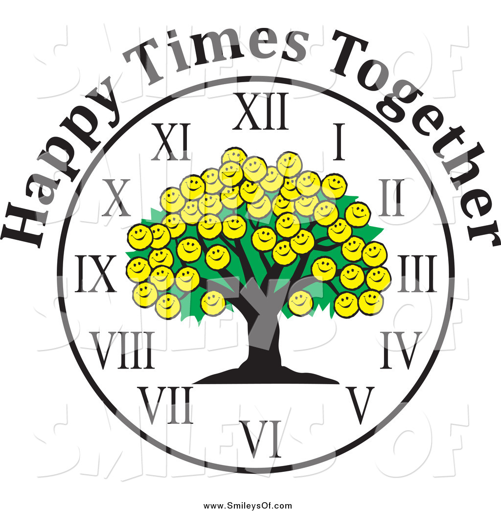 Vector Clipart of a Smiley Face Family Reunion Tree Clock and.