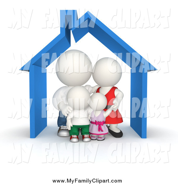 Clip Art of a 3d White Family Huddled in Their House by Andresr.