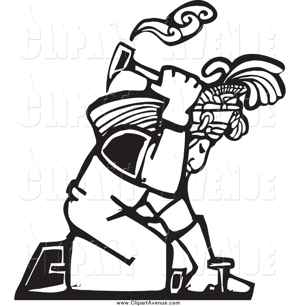 Avenue Clipart of a Black and White Woodcut Mayan Roofer by.