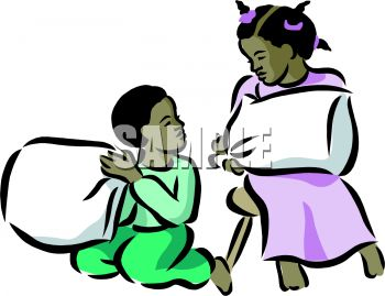 Royalty Free Clipart Image: Brother and Sister Having a Pillow Fight.