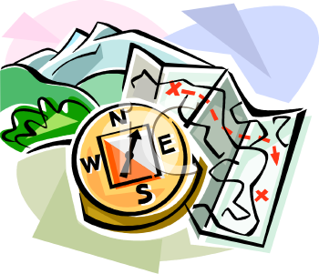 Royalty Free Clip Art Image: Camping Map and Compass.