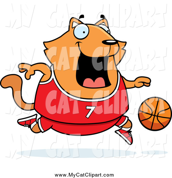 Clip Art of a Plump Orange Cat Playing Basketball by Cory Thoman.