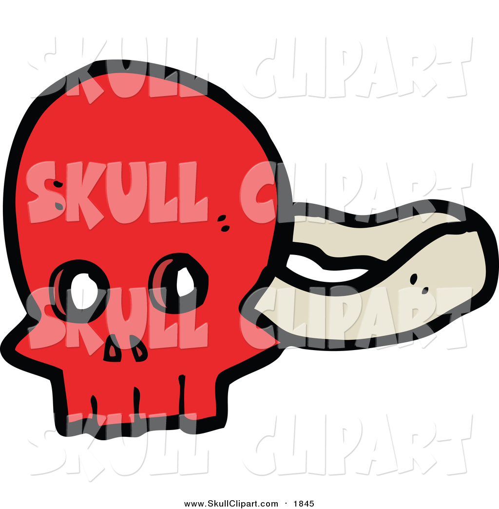 Vector Clip Art of a Red Skull Mask by lineartestpilot.