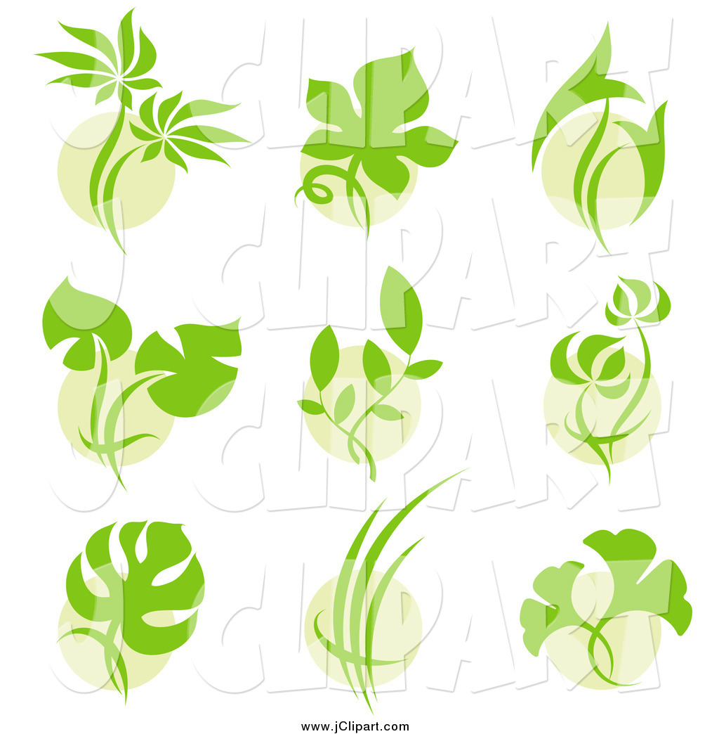 Vector Clip Art of Green Leaf Plant Designs by elena.