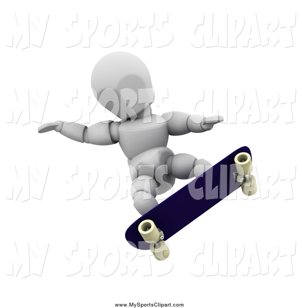 Sports Clip Art of a 3d White Guy Balancing Himself with His Arms.