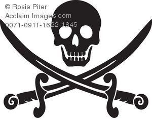 Clip Art Illustration of a Skull and Crossed Swords.