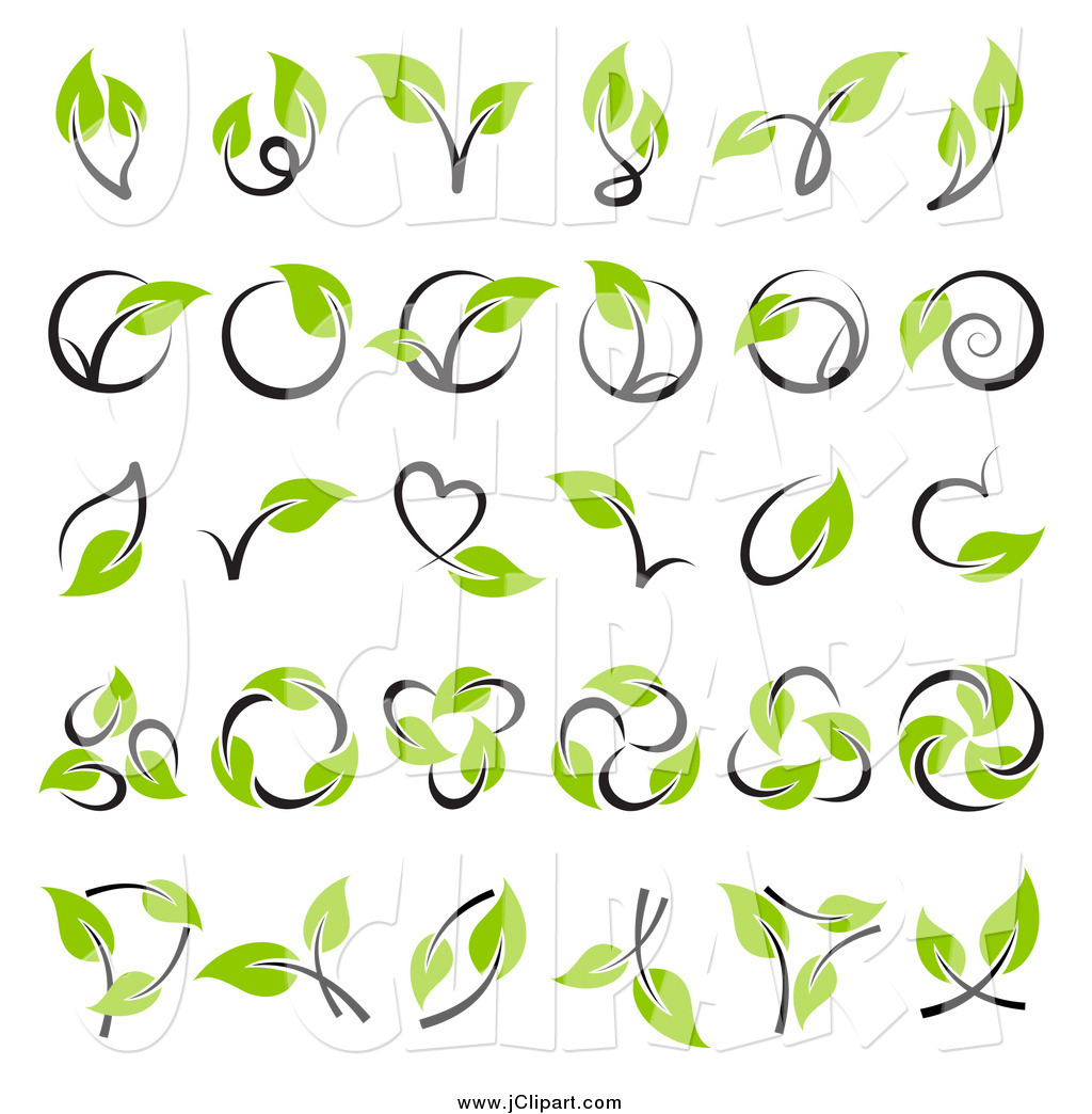 Vector Clip Art of Green Leaf and Stem Designs by elena.
