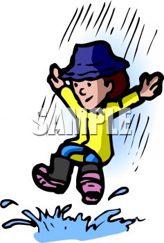 Royalty Free Clip Art Image: Kid Playing in a Rain Puddle.