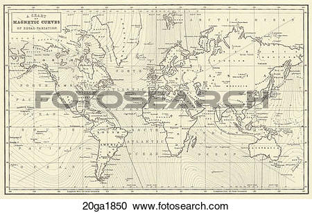 Stock Illustrations of Antique World Map (wood engraving)., c.