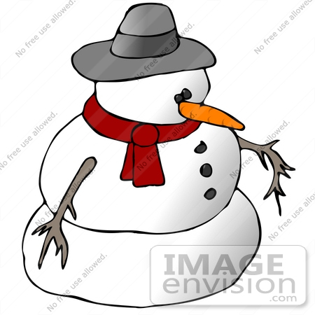 Clipart Ilustration of a Snowman in a Hat and Scarf.