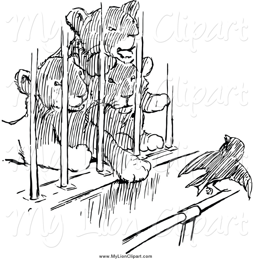 Clipart of Black and White Lion Cubs Watching a Bird from a Cage.