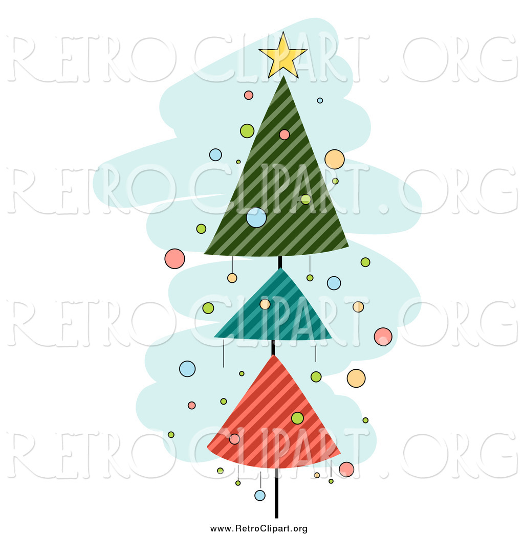 Clipart of a Retro Christmas Tree of Striped Triangles over Blue.