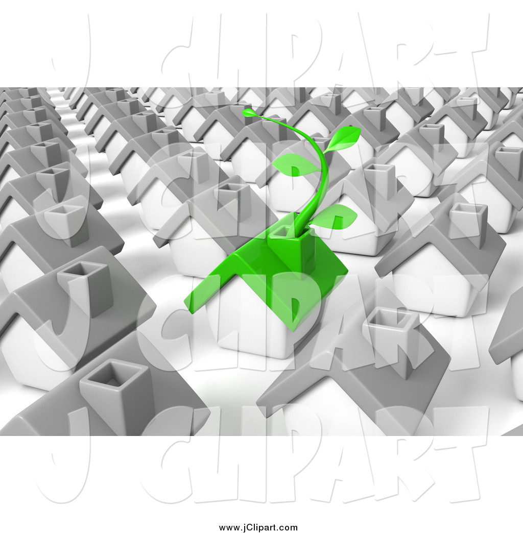 Clip Art of a 3d Green Eco Friendly Home with a Vine, in a.