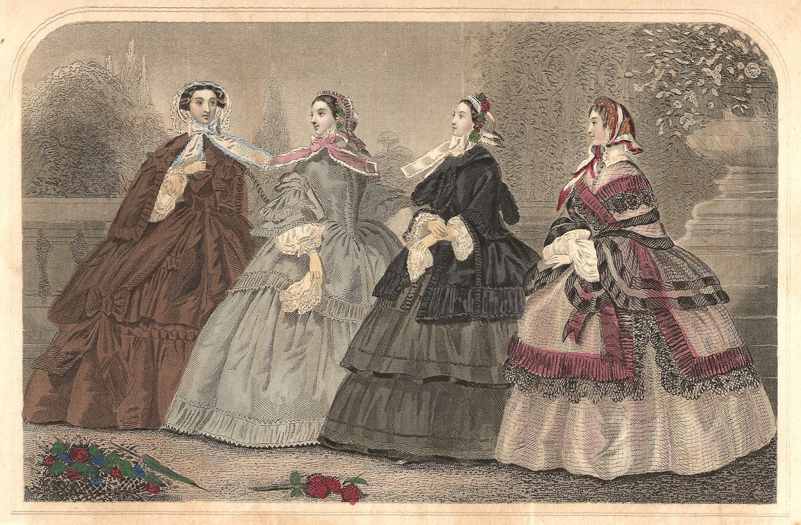 Antique Images: Free Antique Graphic: 1859 Victorian Godey's Dress.