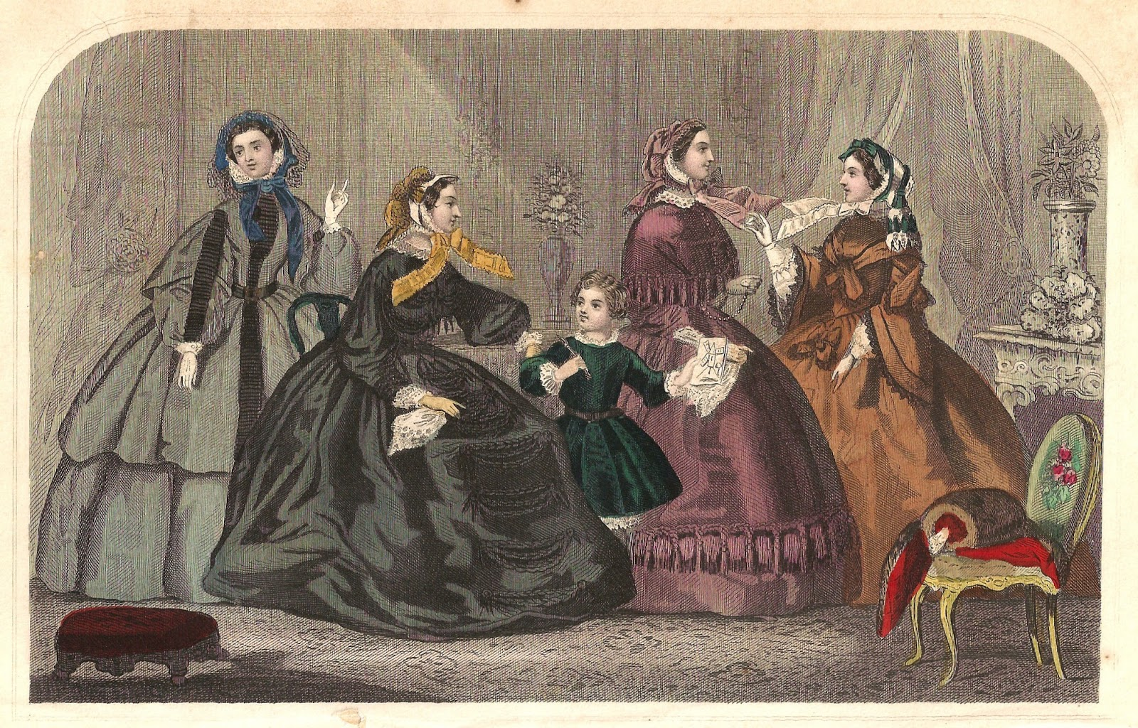 Antique Images: Free Antique Fashion Clip Art: 1859 Victorian.