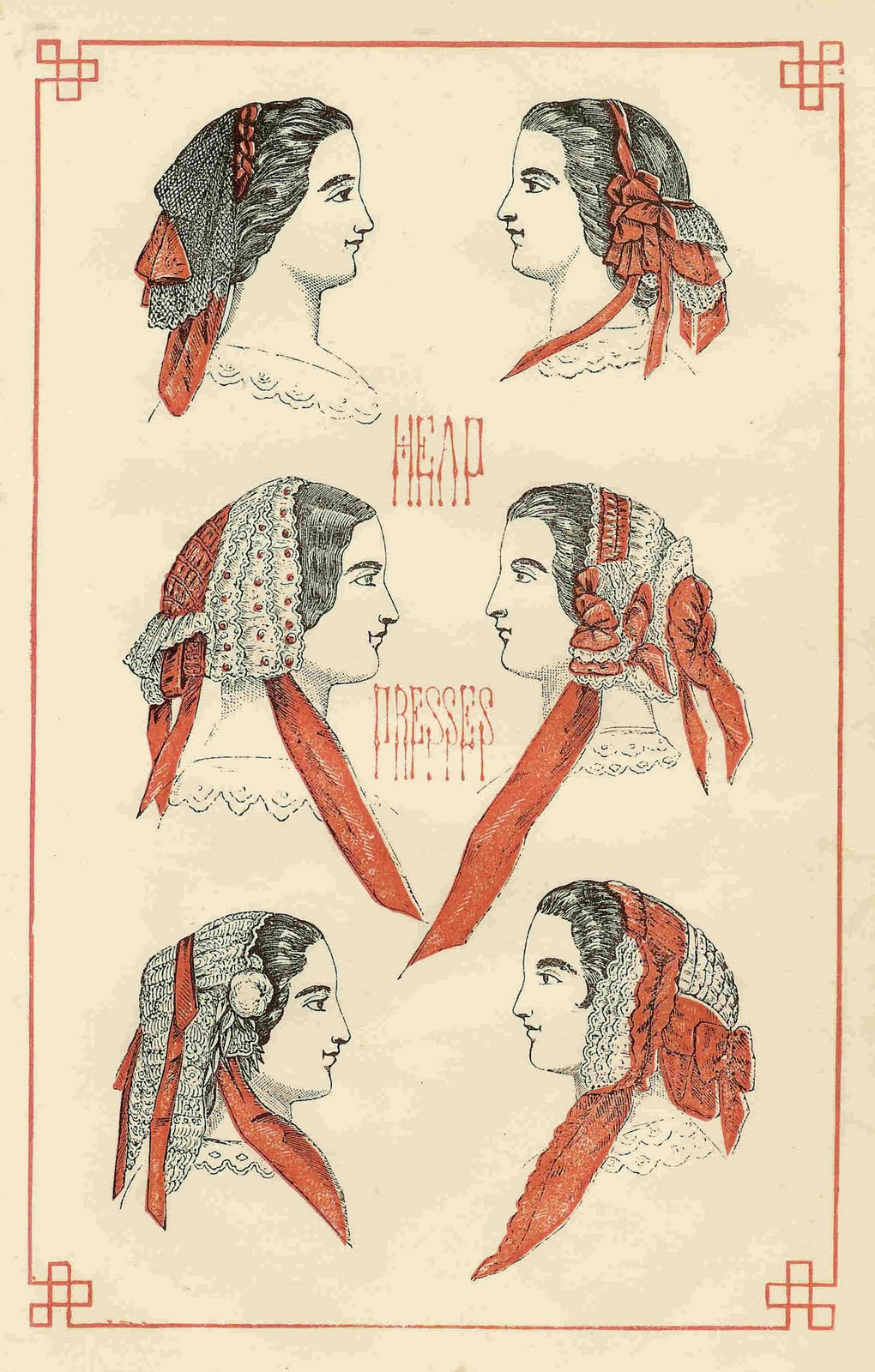 Antique Images: Free Antique Clip Art: 1859 Hat Fashion Head Dresses.