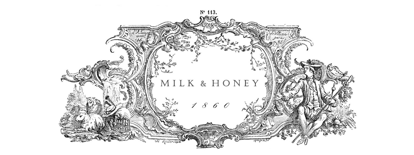 Vintage milk & honey clipart.