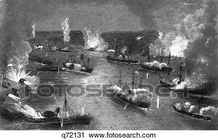 Stock Photography of 1800S 1860S April 24 1862 Naval Battle New.