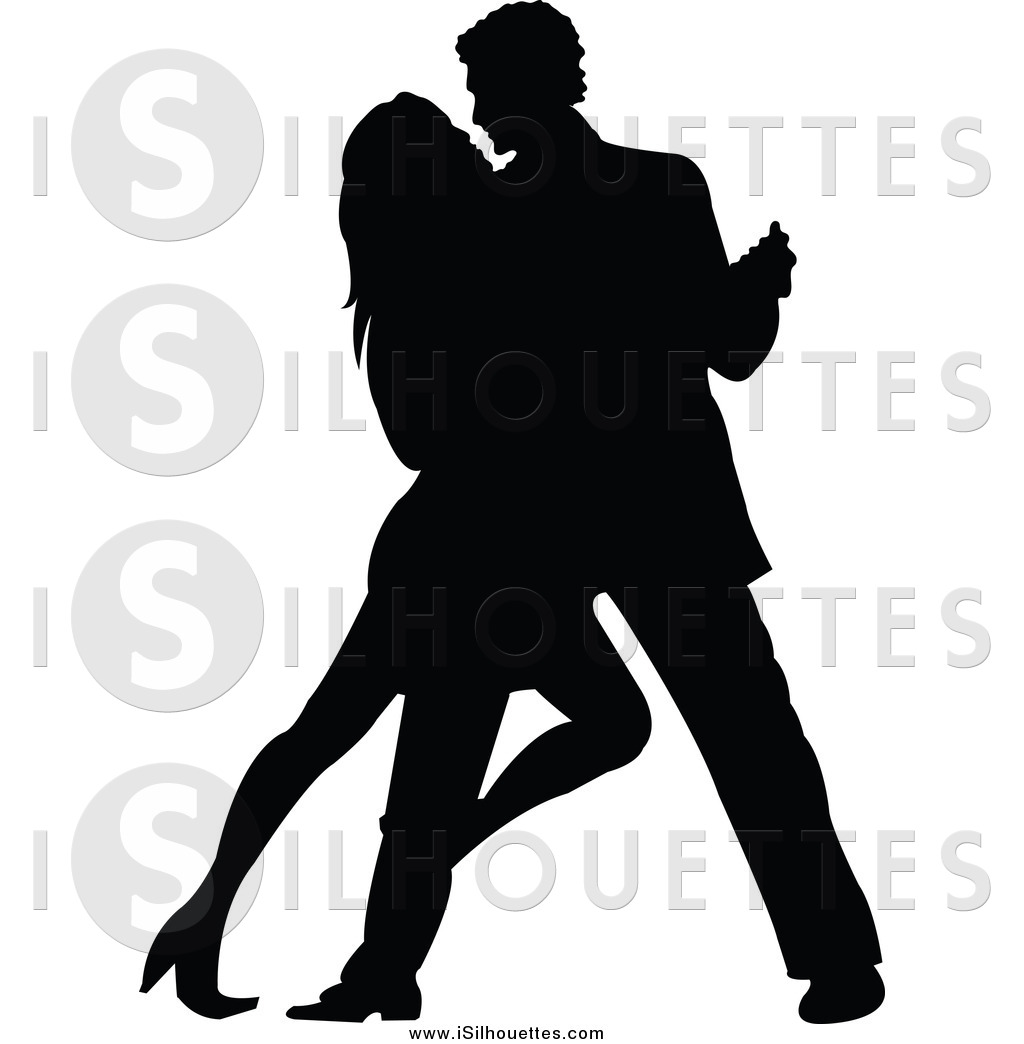 Clipart of a Silhouetted Tango Dancing Couple by Pushkin.